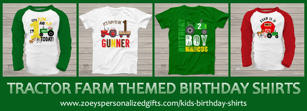 270408ba Also, our comfy tees and raglan style birthday shirts are completely  customizable! You can even turn a green or red tractor into a pink tractor  for your ...