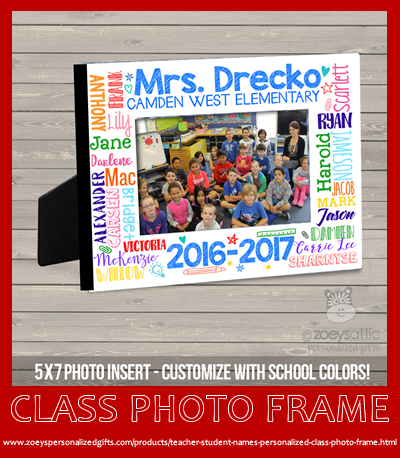 lastly to round out our top five gifts for teachers is our class photo frame personalized with school name teachers name and all the students names as